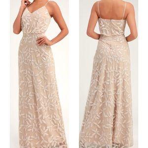 Lulus Savannah Beige Sequin Sleeveless Maxi Dress